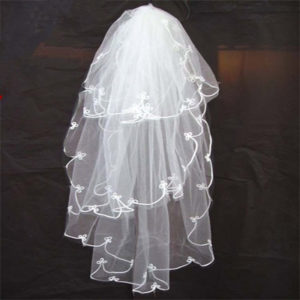 Elegant Beige Multi-layer Shoulder-length Lace Style Tulle Wedding Veil