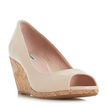 Nude Color Patent Leather Rubber Peep Toe Sandals