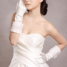 Fascinating Beige Below Elbow-length Applique Satin Wedding Bridal Gloves