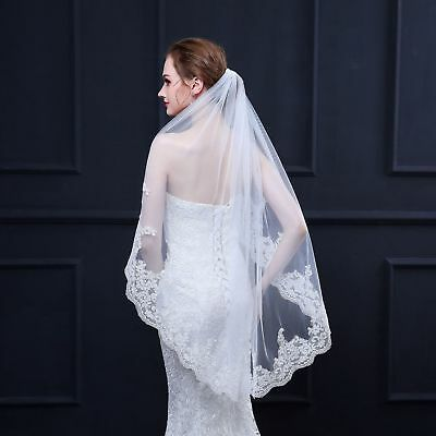 Graceful Beige Single-layer Elbow-length Champagne Lace Tulle Wedding Veil