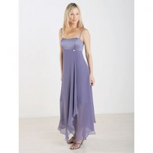 Elegant Halter Off-the-shoulder Satin and Chiffon Bridesmaid Dress
