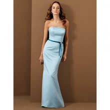 Fashion Light Blue Off-the-shoulder Satin Bridesmaid Dress