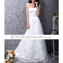 Princess A-Line Court Train Satin Lace Square Wedding Dress(TAL072)